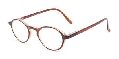 Angle of The Overland in Brown, Women's and Men's Round Reading Glasses