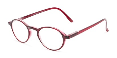 Angle of The Overland in Burgundy Red, Women's and Men's Round Reading Glasses