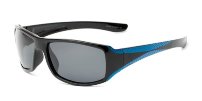 Angle of The Tyler Unmagnified Sunglasses in Black/Blue with Grey, Women's and Men's Sport & Wrap-Around Sunglasses
