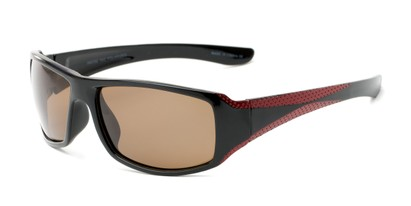 Angle of The Tyler Unmagnified Sunglasses in Black/Red with Amber, Women's and Men's Sport & Wrap-Around Sunglasses