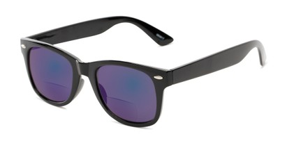 Angle of The Pacey Bifocal Reading Sunglasses in Glossy Black with Blue Mirror, Women's and Men's Retro Square Reading Sunglasses