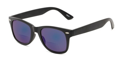 Angle of The Pacey Bifocal Reading Sunglasses in Matte Black with Blue Mirror, Women's and Men's Retro Square Reading Sunglasses