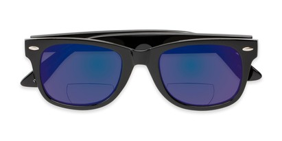 Folded of The Pacey Bifocal Reading Sunglasses in Glossy Black with Blue Mirror