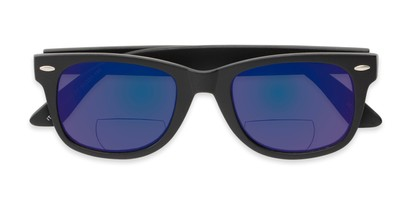 Folded of The Pacey Bifocal Reading Sunglasses in Matte Black with Blue Mirror