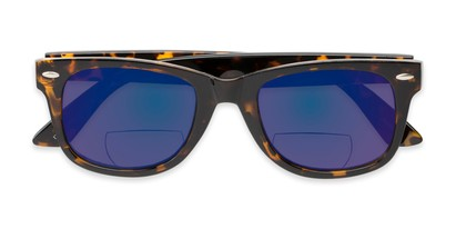 Folded of The Pacey Bifocal Reading Sunglasses in Glossy Tortoise with Blue Mirror