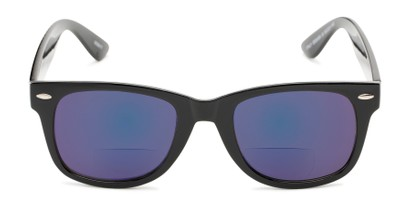 Front of The Pacey Bifocal Reading Sunglasses in Glossy Black with Blue Mirror