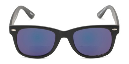 Front of The Pacey Bifocal Reading Sunglasses in Matte Black with Blue Mirror