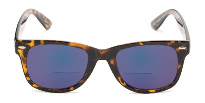 Front of The Pacey Bifocal Reading Sunglasses in Glossy Tortoise with Blue Mirror
