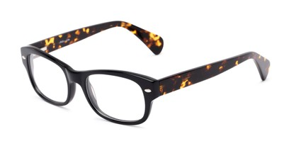 Angle of The Parker Customizable Reader in Black and Tortoise, Women's and Men's Retro Square Reading Glasses