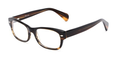 Angle of The Parker Customizable Reader in Brown Stripe, Women's and Men's Retro Square Reading Glasses
