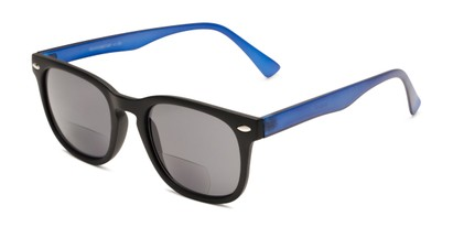 Angle of The Patio Bifocal Reading Sunglasses in Black/Blue, Women's and Men's Retro Square Reading Sunglasses