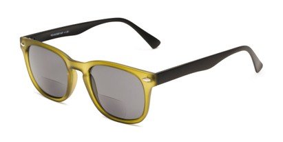 Angle of The Patio Bifocal Reading Sunglasses in Green/Black, Women's and Men's Retro Square Reading Sunglasses