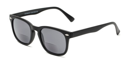 Angle of The Patio Bifocal Reading Sunglasses in Matte Black, Women's and Men's Retro Square Reading Sunglasses
