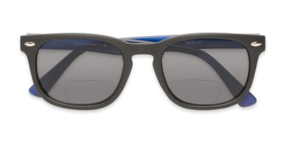 Folded of The Patio Bifocal Reading Sunglasses in Black/Blue
