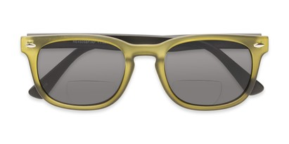 Folded of The Patio Bifocal Reading Sunglasses in Green/Black