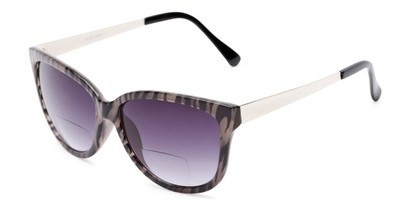 Angle of The Penelope Bifocal Reading Sunglasses in Tan Zebra/Silver with Smoke, Women's Cat Eye Reading Sunglasses