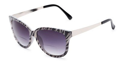 Angle of The Penelope Bifocal Reading Sunglasses in White Zebra/Silver with Smoke, Women's Cat Eye Reading Sunglasses