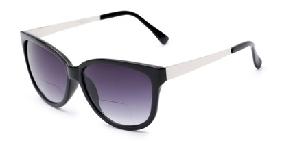 Angle of The Penelope Bifocal Reading Sunglasses in Black/Silver with Smoke, Women's Cat Eye Reading Sunglasses