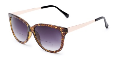 Angle of The Penelope Bifocal Reading Sunglasses in Tortoise/Gold with Smoke, Women's Cat Eye Reading Sunglasses