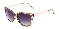 Angle of The Penelope Bifocal Reading Sunglasses in Leopard/Gold with Smoke, Women's Cat Eye Reading Sunglasses