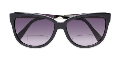 Folded of The Penelope Bifocal Reading Sunglasses in Black/Silver with Smoke