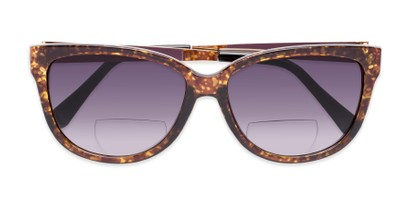 Folded of The Penelope Bifocal Reading Sunglasses in Tortoise/Gold with Smoke