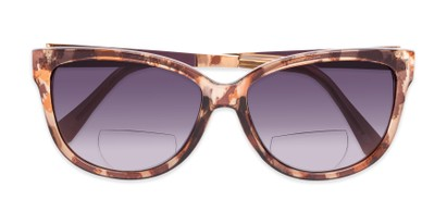 Folded of The Penelope Bifocal Reading Sunglasses in Leopard/Gold with Smoke
