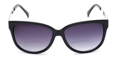 Front of The Penelope Bifocal Reading Sunglasses in Black/Silver with Smoke