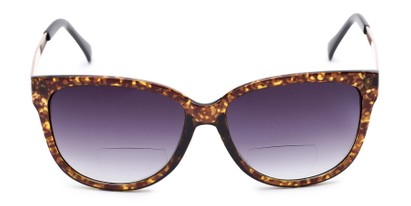 Front of The Penelope Bifocal Reading Sunglasses in Tortoise/Gold with Smoke
