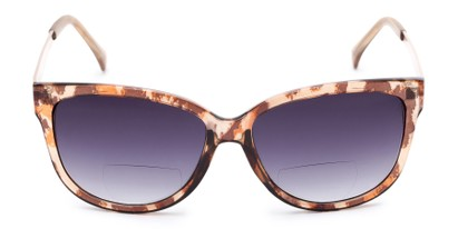 Front of The Penelope Bifocal Reading Sunglasses in Leopard/Gold with Smoke
