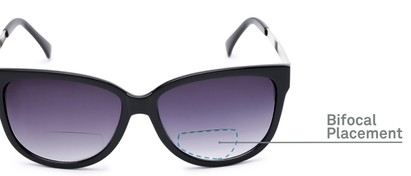 Detail of The Penelope Bifocal Reading Sunglasses in Black/Silver with Smoke