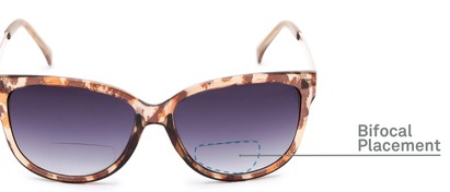 Detail of The Penelope Bifocal Reading Sunglasses in Leopard/Gold with Smoke