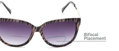 Detail of The Penelope Bifocal Reading Sunglasses in Tan Zebra/Silver with Smoke
