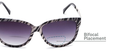 Detail of The Penelope Bifocal Reading Sunglasses in White Zebra/Silver with Smoke