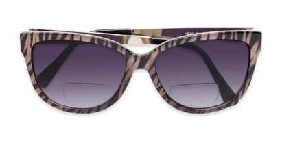 Folded of The Penelope Bifocal Reading Sunglasses in Tan Zebra/Silver with Smoke