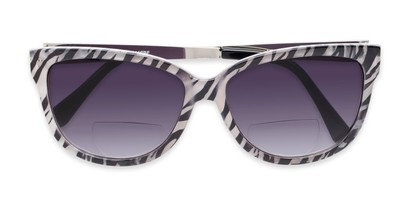 Folded of The Penelope Bifocal Reading Sunglasses in White Zebra/Silver with Smoke