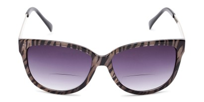 Front of The Penelope Bifocal Reading Sunglasses in Tan Zebra/Silver with Smoke