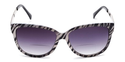 Front of The Penelope Bifocal Reading Sunglasses in White Zebra/Silver with Smoke