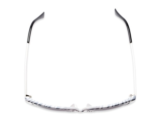 Overhead of The Penelope Bifocal Reading Sunglasses in White Zebra/Silver with Smoke
