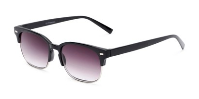 Angle of The Pepper Reading Sunglasses in Glossy Black/Silver with Smoke, Women's and Men's Browline Reading Sunglasses