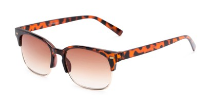 Angle of The Pepper Reading Sunglasses in Glossy Tortoise/Gold with Amber, Women's and Men's Browline Reading Sunglasses