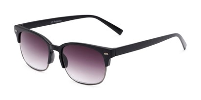 Angle of The Pepper Reading Sunglasses in Matte Black/Grey with Smoke, Women's and Men's Browline Reading Sunglasses