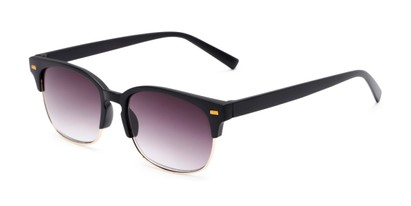 Angle of The Pepper Reading Sunglasses in Matte Black/Gold with Smoke, Women's and Men's Browline Reading Sunglasses