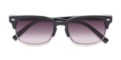 Folded of The Pepper Reading Sunglasses in Glossy Black/Silver with Smoke