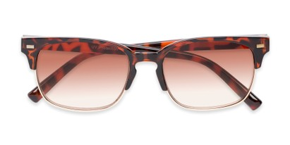 Folded of The Pepper Reading Sunglasses in Glossy Tortoise/Gold with Amber