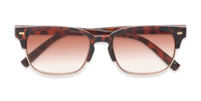 Folded of The Pepper Reading Sunglasses in Matte Tortoise/Gold with Amber