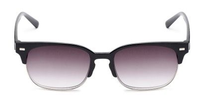 Front of The Pepper Reading Sunglasses in Glossy Black/Silver with Smoke