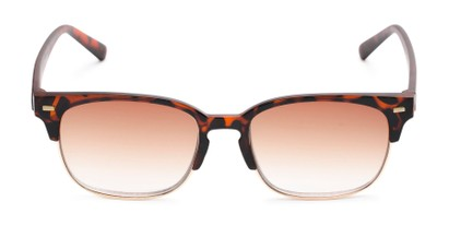 Front of The Pepper Reading Sunglasses in Matte Tortoise/Gold with Amber