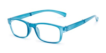 Angle of The Perkins Folding Reader in Blue, Women's and Men's Rectangle Reading Glasses