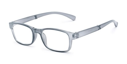 Angle of The Perkins Folding Reader in Grey, Women's and Men's Rectangle Reading Glasses